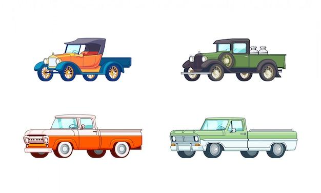 Conjunto de modelos coloridos de camionetas pickup