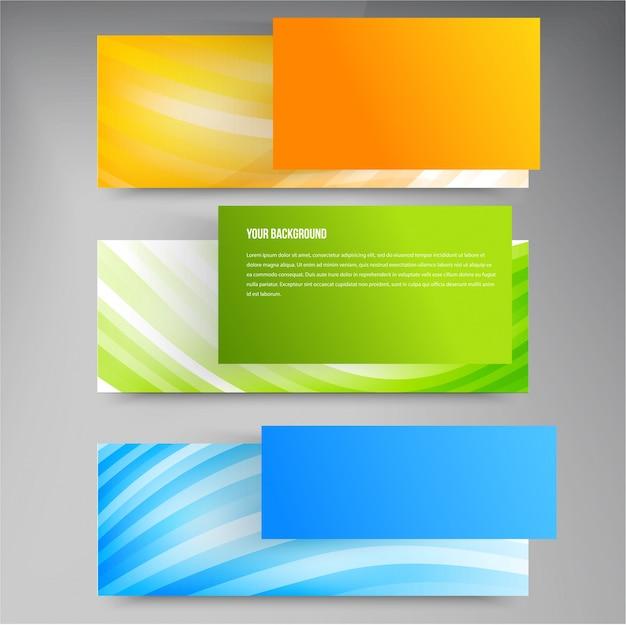 Conjunto de modernas banderas vectoriales con líneas