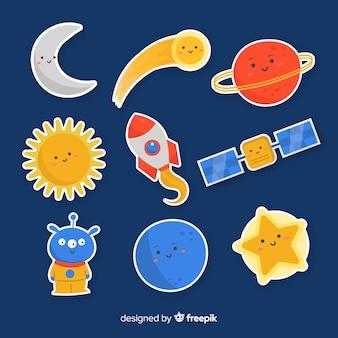 Conjunto de modernas y coloridas pegatinas espaciales