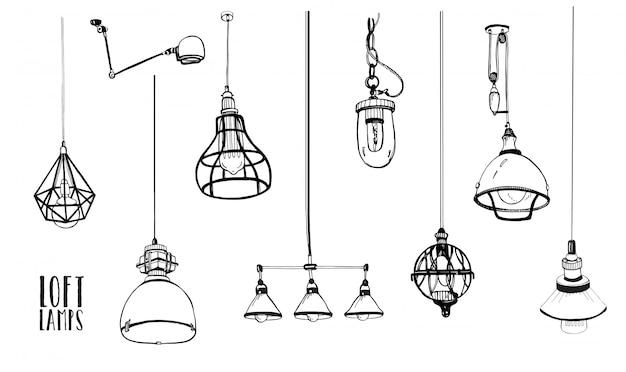 Conjunto de modernas lámparas loft aisladas, vintage, bombillas de estilo retro. colección dibujada a mano.