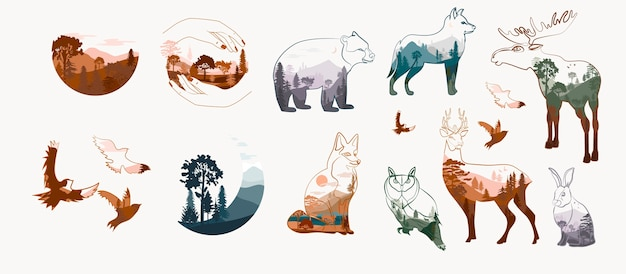 Conjunto moderno de animales en doble exposición, zorro, lobo, pájaro, alce, oso, búho, liebre.