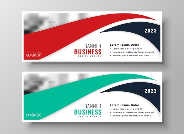 Conjunto moderno de banners de negocios rojo y turquesa