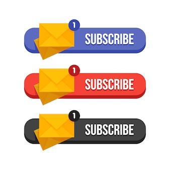 Conjunto moderno de butoons de suscripción plana