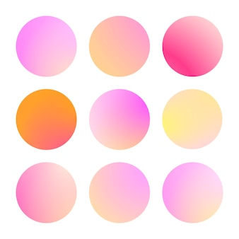 Conjunto moderno de círculos de degradado