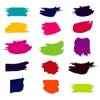 Conjunto moderno colorido de pinceladas de acuarela
