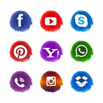 Conjunto moderno de iconos de redes sociales