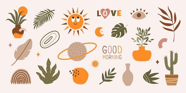 Conjunto moderno de dibujado a mano varias formas frases plantas elementos tropicales y objetos de doodle