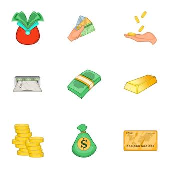Conjunto moderno de dinero y finanzas, estilo de dibujos animados