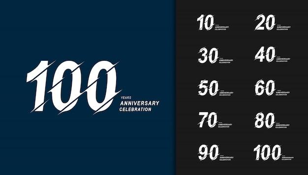 Conjunto moderno del diseño de la celebración del aniversario.