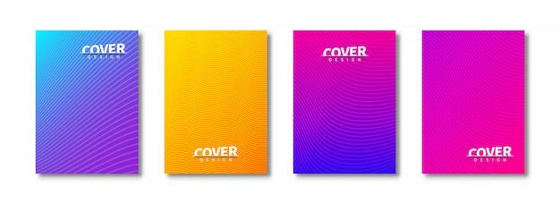 Conjunto moderno de diseño de cubiertas abstractas. cubiertas de plantillas brillantes.