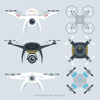 Conjunto moderno de drones con estilo