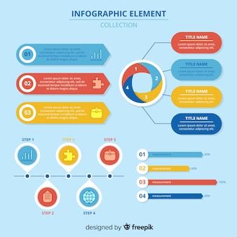 Conjunto moderno de elementos de infografía con diseño plano
