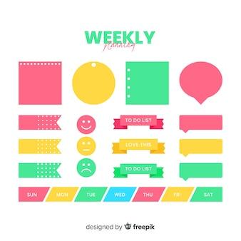 Conjunto moderno de elementos de organización coloridos