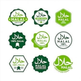Conjunto moderno de etiqueta de comida halal