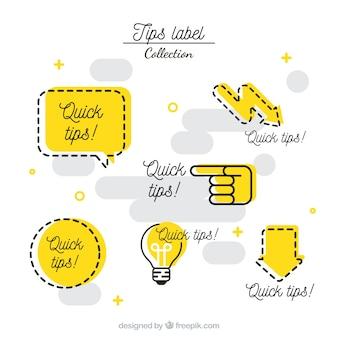 Conjunto moderno de etiquetas de consejos con diseño plano