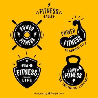 Conjunto moderno de etiquetas de fitness