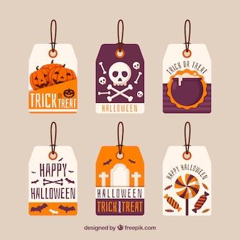 Conjunto moderno de etiquetas terroríficas de halloween