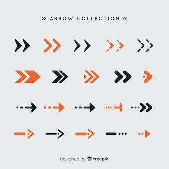 Conjunto moderno de flechas coloridas con diseño plano
