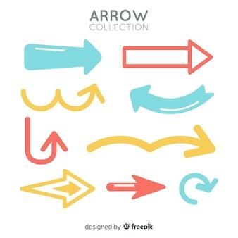 Conjunto moderno de flechas coloridas