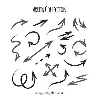 Conjunto moderno de flechas dibujadas a mano