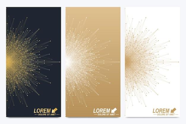 Conjunto moderno de folletos vectoriales. presentación abstracta geométrica con mandala dorado. fondo de molécula y comunicación para medicina, ciencia, tecnología, química.