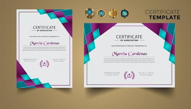 Conjunto moderno geométrico de certificado de diseño de logros.