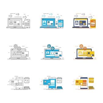 Conjunto moderno de iconos de datos y dispositivos