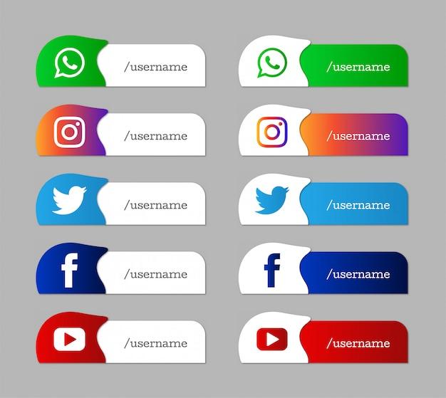 Conjunto moderno de iconos de tercio inferior inferior de redes sociales