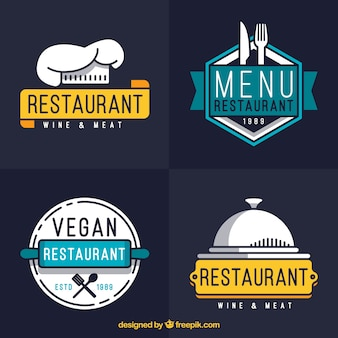 Conjunto moderno de logos de restaurante con estilo