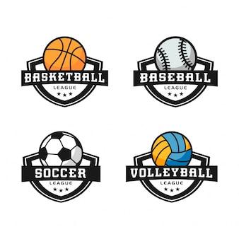 Conjunto moderno de logotipos deportivos abstractos.