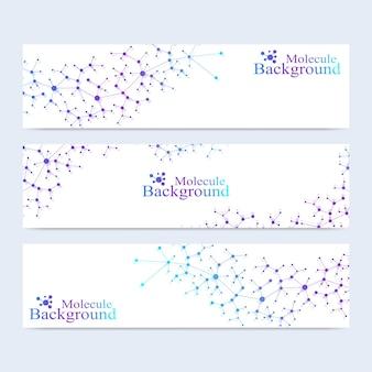 Conjunto moderno de moléculas de adn de banners vectoriales