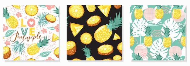 Conjunto de moderno patrón transparente con piña, flores, hojas, elementos abstractos y letras. vibras de verano.