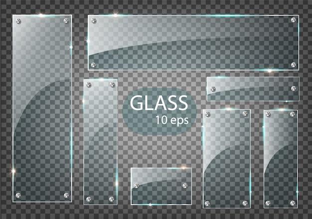 Conjunto moderno de placas de vidrio transparente
