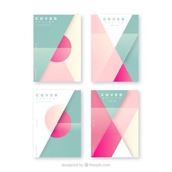 Conjunto moderno de plantillas de portada con diseño geométrico
