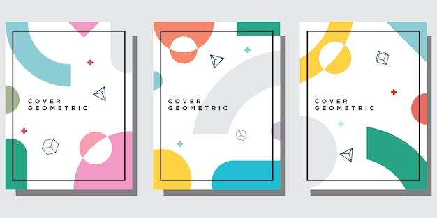Conjunto moderno de portadas de plantillas de memphis