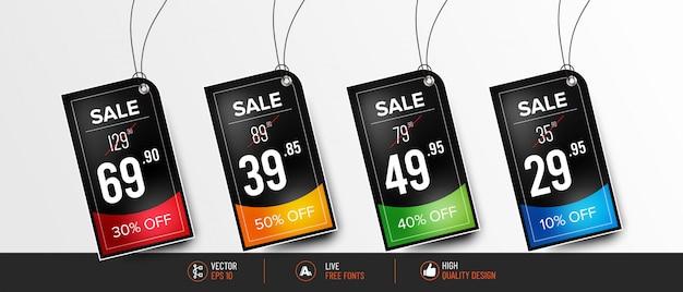 Conjunto moderno de precios coloridos