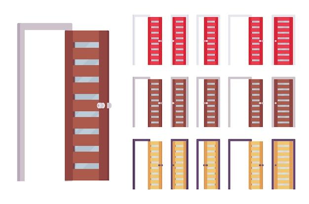 Conjunto moderno de puertas, entrada al edificio, sala