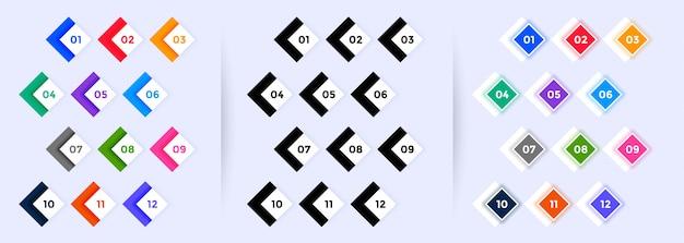 Conjunto moderno de puntos grandes del número uno al doce
