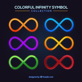 Conjunto moderno de símbolos de infinito coloridos