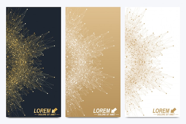 Conjunto moderno de volantes. presentación abstracta geométrica. antecedentes de la molécula y la comunicación para la ciencia, la tecnología. puntos cibernéticos dorados. líneas del plexo.