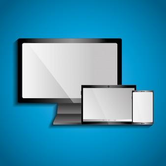 Conjunto de modernos dispositivos digitales monitor de tableta y teléfono móvil