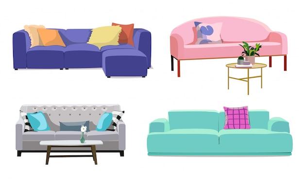 Conjunto de modernos sofás suaves de colores con tapicería