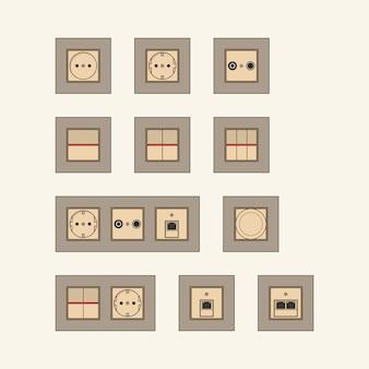 Conjunto de modernos zócalos beige con marcos marrones.