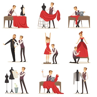 Conjunto de modista, er masculino sastrería medición y costura para sus clientes ilustraciones sobre un fondo blanco.
