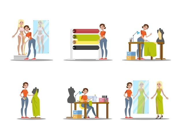 Conjunto de modista femenina. vestido verde de costura a medida para una señorita. trabajando con máquina de coser. ilustración