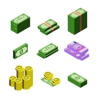 Conjunto de monedas de billetes de dólar y euro de dinero
