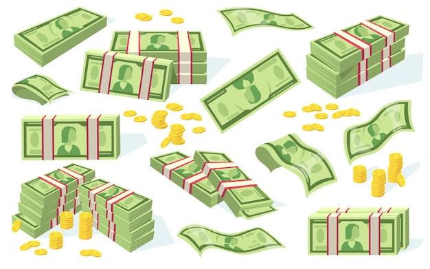 Conjunto de monedas y billetes de dólar. montones de dinero en efectivo, pilas de billetes de papel verde aislados en blanco. ilustración plana
