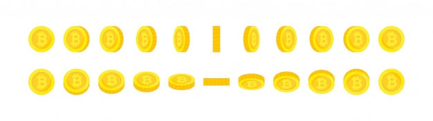 Conjunto de monedas bitcoin de oro de rotación vertical y horizontal.