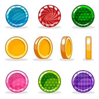 Conjunto de monedas brillantes coloridos dibujos animados, animación del juego
