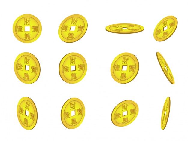 Conjunto de monedas chinas sobre fondo blanco.